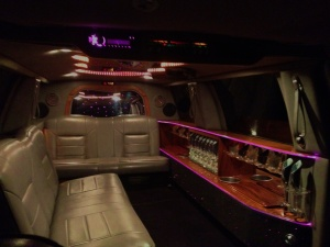 Inside the White Limo with the lights on