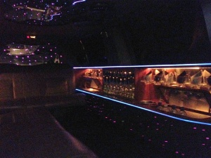 Inside the White Limousine with lights off
