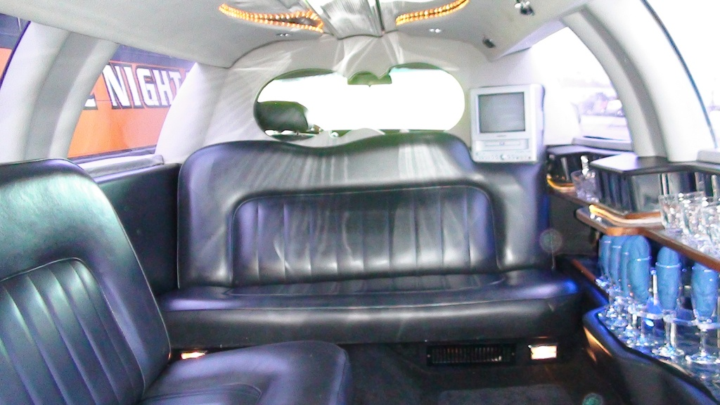 TV and DVD player inside our Black Limousine