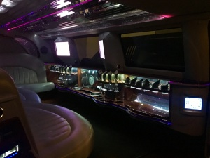 Inside the White SUV Limousine (View 1)