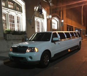 Outside the White SUV Limousine (View 1)