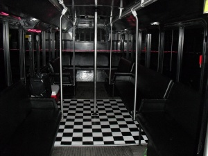 Inside the Green Party Bus looking towards the back (party lights off)