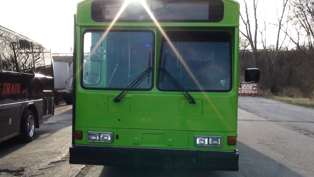 Green Party Bus as seen from directly in front