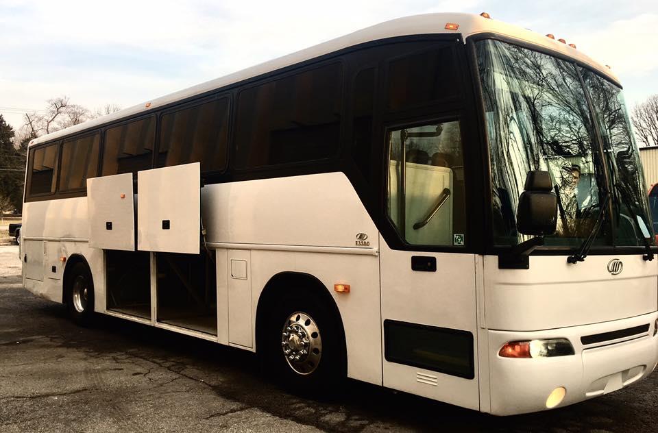 Passenger's side of Charter Bus