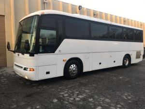 Driver's side of Charter Bus
