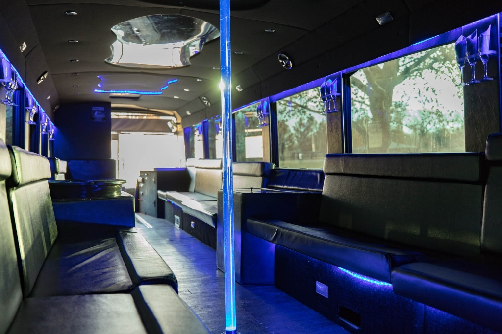 Ambassador Bus (Interior, Front, Dance Pole with Blue Lighting)