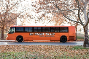 Orange Party Bus (Exterior, Driver's Side)