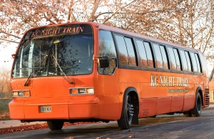 Orange Party Bus (Exterior, Front, Driver's Side)