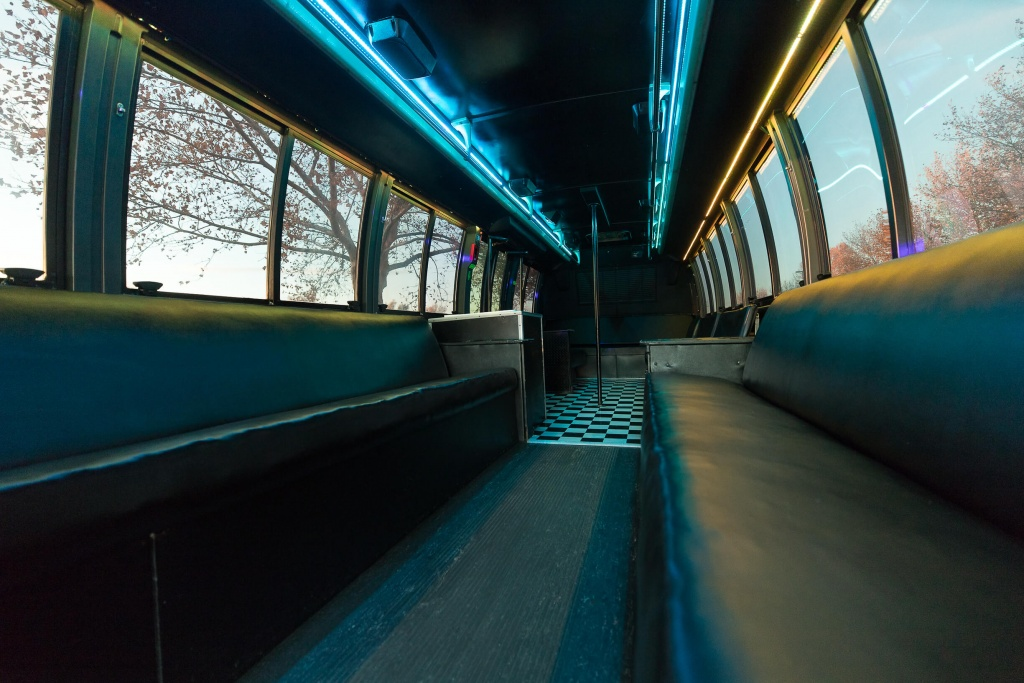 Orange Party Bus (Interior, Rear, Blue Lighting, View 1)