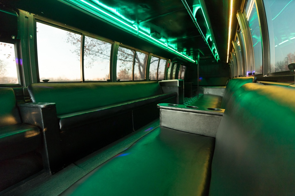 Orange Party Bus (Interior, Rear, Green Lighting, View 2)