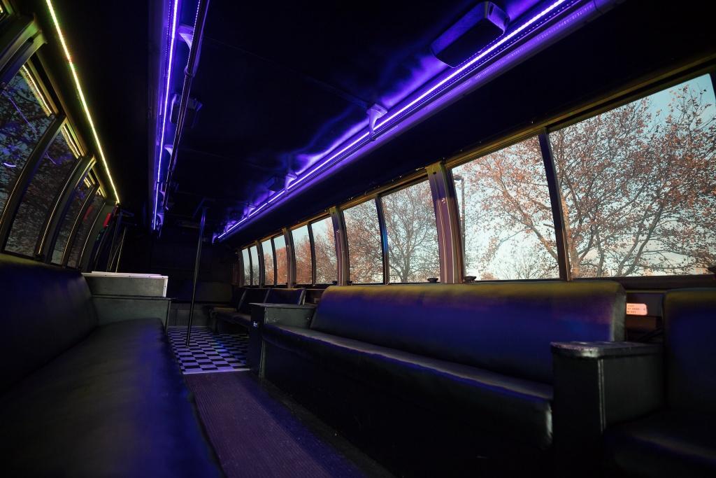 Orange Party Bus (Interior, Rear, Purple Lighting, View 2)