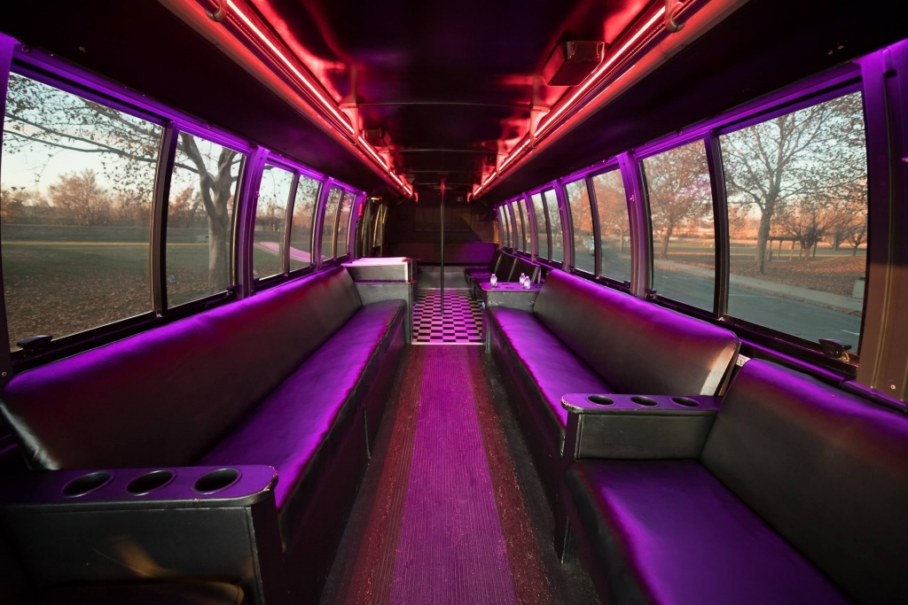 Orange Party Bus (Interior, Rear, Red Lighting, View 2)