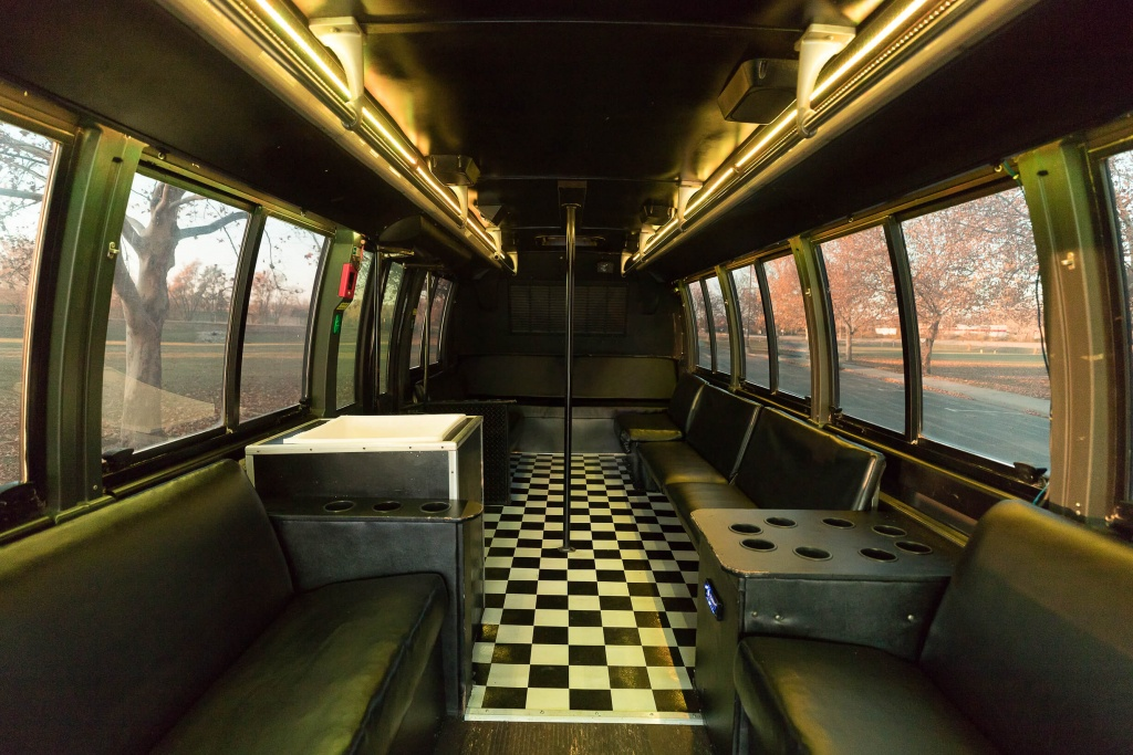 Orange Party Bus (Interior, Rear, White Lighting, View 1)